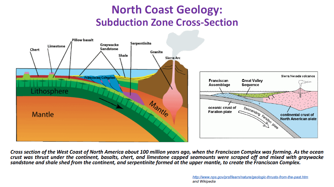 North Coast Geology: Subduction Zone Cross-Section Diagram